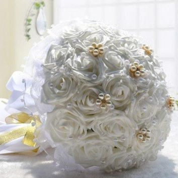 CREYUG3 30 Pcs High Simulation Rose Bridal Holding Flowers Bouquet Wedding Flower Decorations Valentine's Gift = 1932903236