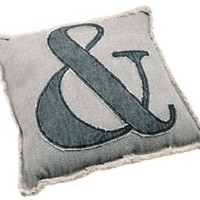 Shabby Chic Cotton Canvas Oversized Throw Pillow with Ampersand Applique - Gray / Black - 21-in x 20-in