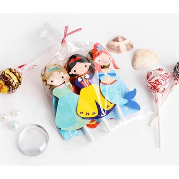 120  Pcs Princess Mermaid Super Hero Lollipop Card Lollipop Candy Decoration Kids Birthday Party Funny Creative Gift Favor Decor