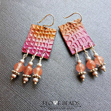 Pink and orange flames//Pink leather chandelier earrings with faceted cherry quartz//chandelier earrings//leather earrings// cherry quartz