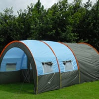 Large Family Camping Tent Waterproof Canvas Fiberglass 5-8 People Family Tunnel