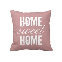 Home Sweet Home Girly Pink Roses Elegant Floral Throw Pillows from Zazzle.com