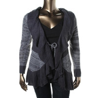 Extra Touch Womens Plus Knit Tie Front Cardigan Sweater