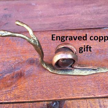 Copper anniversary gift for her, 7th anniversary, copper snail, 22nd anniversary, copper gifts, snail, copper anniversary,snail decor