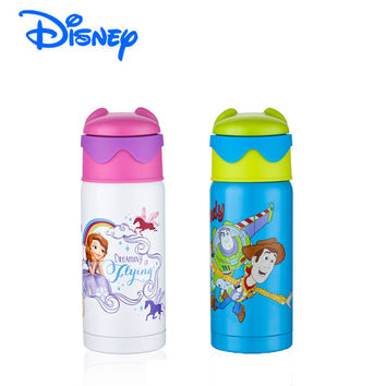 Disney Brand Bottle Kids Bottle 18/8 Food Grade Stainless Steel Kids Thermos with Silicone Straw BPA free Leak Proof  6-12 Hours