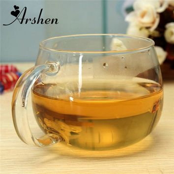 Arshen 260ml Glass Cups Heat Resisting Clear Handmade Crystal Mini kungfu Tea Coffee Milk Tea Round Drink Mug Fashion Brief