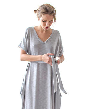 Light gray Maxi knitted dress,Marengo gray cotton dress , Casual woman dresses , Short sleeves maxi dress