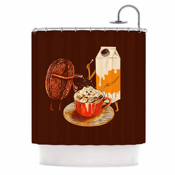 "BarmalisiRTB ""Latte Art"" Red Illustration Shower Curtain"
