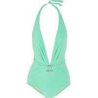 Karla Colletto Turquoise Square plunge-front swimsuit - Polyvore
