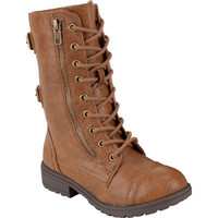 KIDS Girls Youth Military Combat Boot Zipper Lace Up Faux-Leather Soda Dome-2