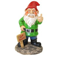 Go Away Garden Gnome - Bird Flipping Hilarious Novelty Garden Gnome
