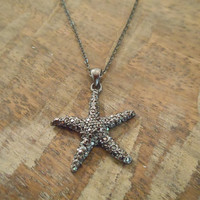Starfish necklace with dark crystals -Hematite Starfish Necklace
