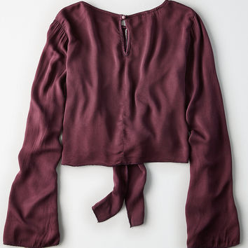 Don't Ask Why Satin Bell Sleeve Top, Deep Plum