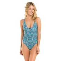 Women's Strappy One Piece Swimsuit Blue Paisley - Shade & Shore
