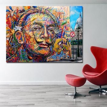 SELFLESSLY Salvador Dali Colorful Portrait Oil Painting Wall Art Canvas Posters Print For Living Room Home decoration