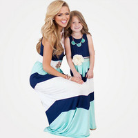 Family Look 2016 family matching mother daughter dress clothes striped mom and daughter dress kids parent child outfits