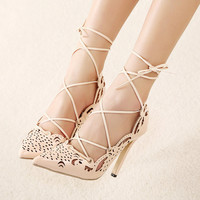 Black and Beige Hollow Cut Pointed Toe Heels Strap Shoes