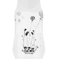 Balloons PANDA ship print Tank top vest urban womens ladies tshirt