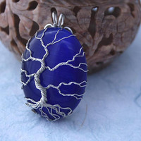 Blue Cat's Eye Tree of Life wire-wrapped pendant