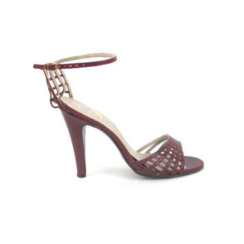 70s Cut Out Leather Stilettos Cage Heels Ankle Strap Sandals Burgundy Red Heels Sexy Open Toe Sandals (5.5)