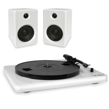 Innovative Technology ITUT-420 Victrola Modern 3-Speed Bluetooth Stereo Turntable w/2 50-Watt Speakers (White) - B
