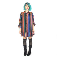 90s Silk Rainbow Striped Blouse Oversized Vertical Striped Plus Size Shirt Button Down Long Sleeve Top (L/XL)