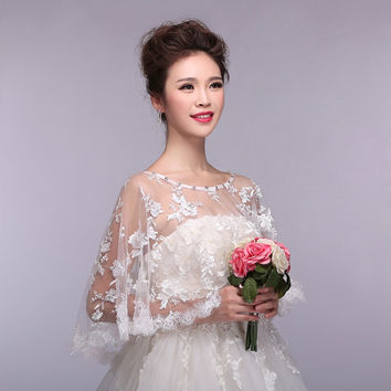 Popular New! Elegant Women Lace Bridal Wraps Ivory Wedding Shawl Wedding Accessories For Wedding Dress One Size