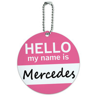 Mercedes Hello My Name Is Round ID Card Luggage Tag