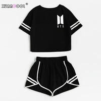 XUANCOOL Women Two Piece Outfits BTS Love Yourself Summer Style Black Short Sleeve Top and Shorts Set Women Sets Clothes