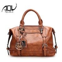 AOU NEW Women Fashion Handbag For L Solid PU Leather Shoulder Men's Casual Tote Bags Brown Vintage Business Top handle Bag