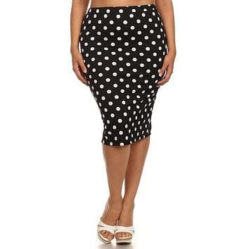 Curvy/Plus Polka Dot Pencil Skirt