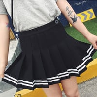 Preppy Striped Pleated A Skirt