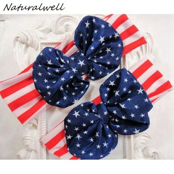 Naturalwell Mommy and baby 4th of July Big Messy Bow Headband Turban Headband Patriotic Headband American Flag Knotted Bow HB543