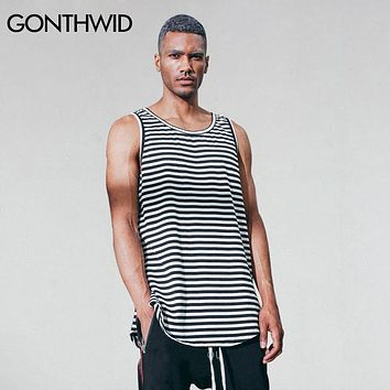 Men Striped Tank Tops Male Extended Black White Striped Sleeveless T Shirts Fashion Urban Casual Streetwear Vests