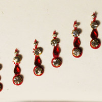 Bollywood Bridal Stunning Fancy Maroon Teardrop Bead Bindis / Tribal Bindi in New Styles.