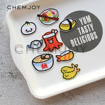Octopus Sushi Embroidery Patch Ironing on Japanese Food Cute Appliques Clothes Stickers Cartoon Badges for Bags Shoes Scrapbook
