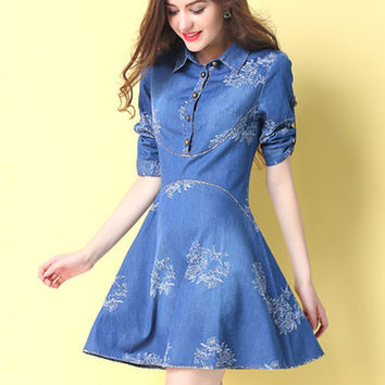 Blue Shirt Print Embroidered Cotton Short Dress
