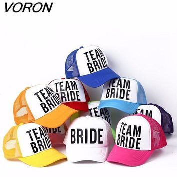 DCCKWJ7 VORON BRIDE TO BE TEAM BRIDE Bachelorette Hats Women Wedding Preparewear Trucker Caps White Neon Summer Mesh Free Shipping