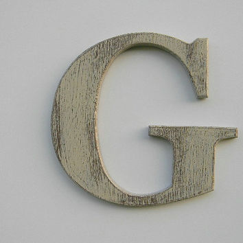 """Wooden Letter Rustic Wall Hanging Letter G 12"""" Painted Weathered Butter Cream Distressed Style"""