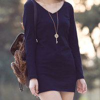 Long Sleeve Black V-Neck Mini Dress