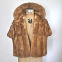 Mink Fur Stole Cape / Chestnut 1950s capelet / wedding bridal S-L