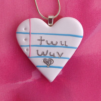 Notebook Jewelry- Twu Wuv/True Love Jewelry/The Princess Bride/Couples Jewelry/Heart Pendant/Girlfriend Jewelry/Wedding/Anniversa­ry