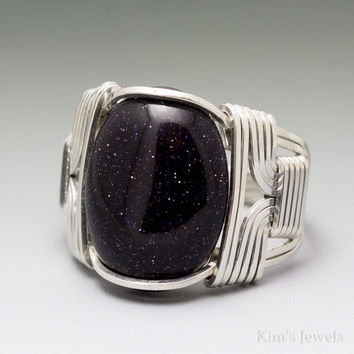 Blue Goldstone Cabochon Sterling Silver Wire Wrapped Ring