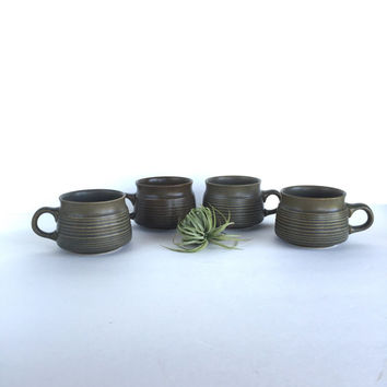 Vintage Denby-Langley Sherwood Flat Cups Set of 4