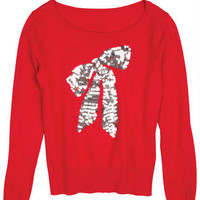 Red Sequin Bow Applique Pullover