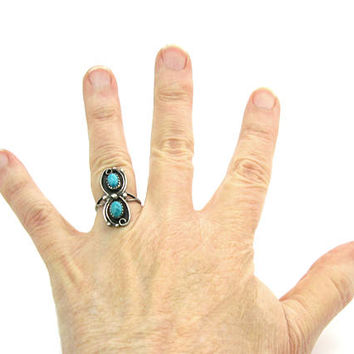 Long Double Turquoise Ring. Navajo Style Sterling Silver Rain Drops. Cabochon Gemstones. Vintage Native American Statement Jewelry SZ 7.5