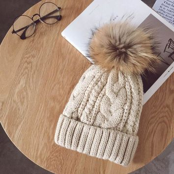 Faux fur ball cap pom poms winter hat for women girl 's hat knitted beanies super warm new