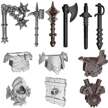 10pcs/lot Weapons Shield Medieval Knight Castle Barbarian Armor Part Building Blocks Bricks Accessories Kids Toys