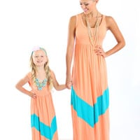 Ryleigh Rue Light Apricot and Aqua Maxi Dress - Ryleigh Rue Clothing by MVB