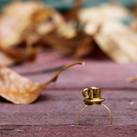Gold Tea Cup Ring